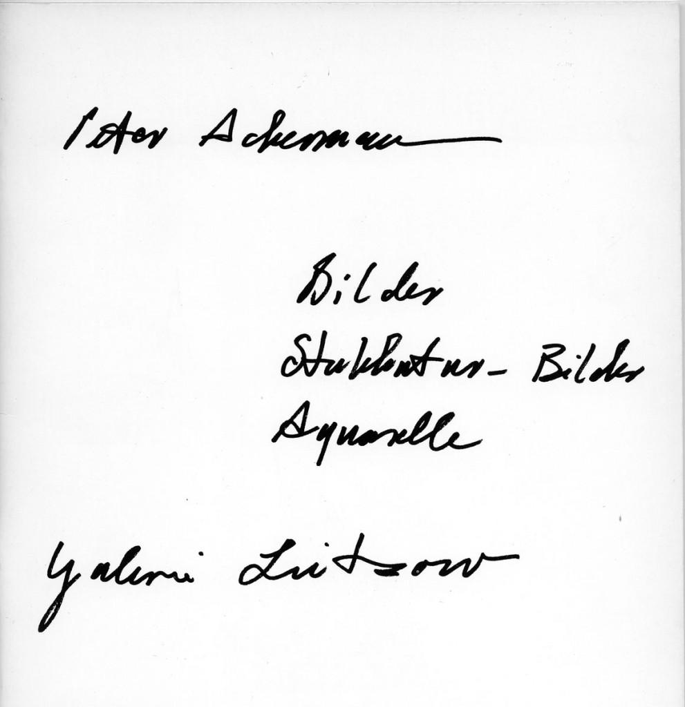 Peter Ackermann Stukkatur-Bilder, Bilder, Aquarelle Erscheinungsjahr 1975