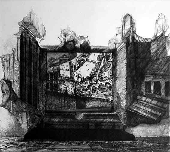 Titelblatt (Blick auf ein Relief der beiden Propheten und einen Teil der Stadt London. Unterhalb der Köpfe die Gesetzestafeln, auf welchen für Produkte der englischen Industrie geworben wird.) WV51