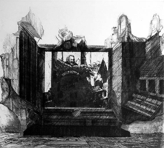 Blatt 10 (Apotheose Marx zwischen großen Säulen über Einem Gebäude, in welchem sich Madame Tussauds Waxwork befindet. Zur Rechten Lenin mit der Fahne der Revolution.) WV 60
