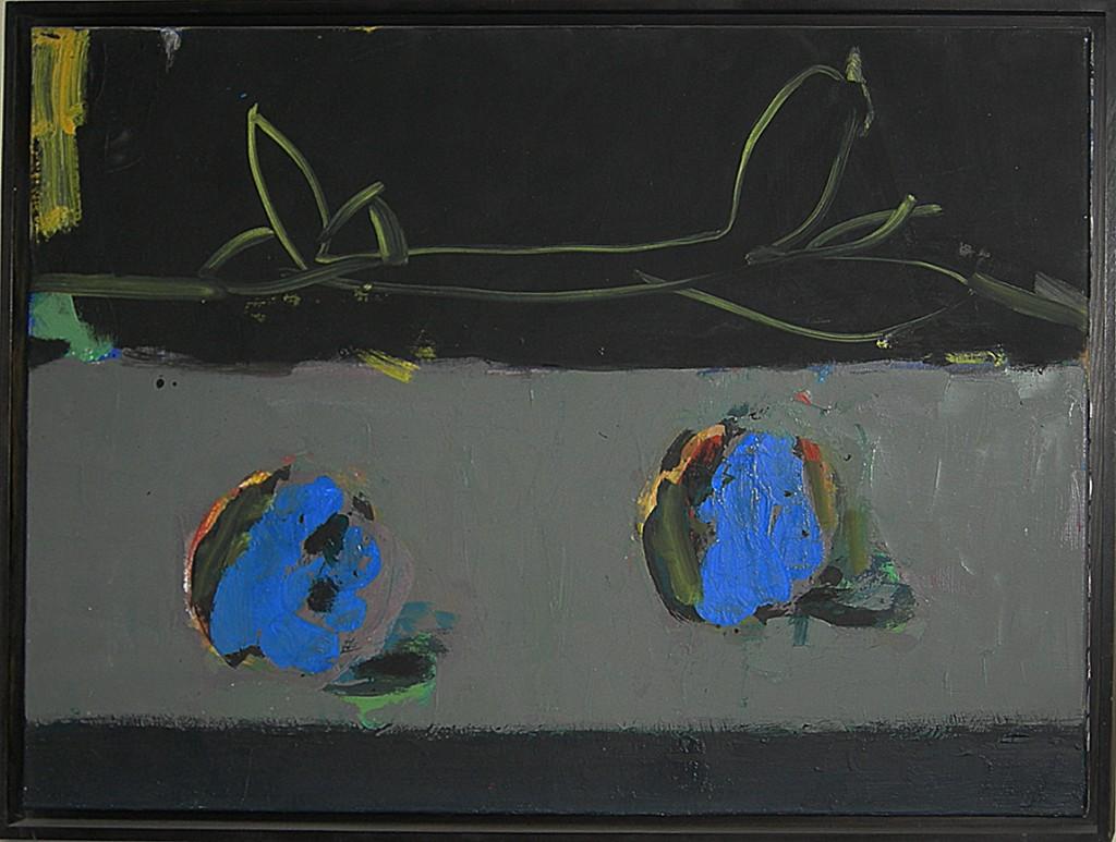 """""""Zweig/zwei blau""""  1996 Öl auf Leinwand  60 x 80 cm auf der Rückseite signiert, datiert und betitelt"""