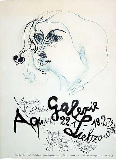 """Plakatentwurf 1971 für die Ausstellung """"Ausgewählte Handzeichnungen und Aquarelle I """""""