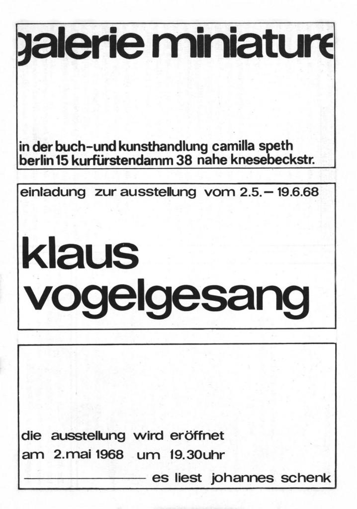 Klaus Vogelgesang, Zeichnungen, Erscheinungsjahr 1968