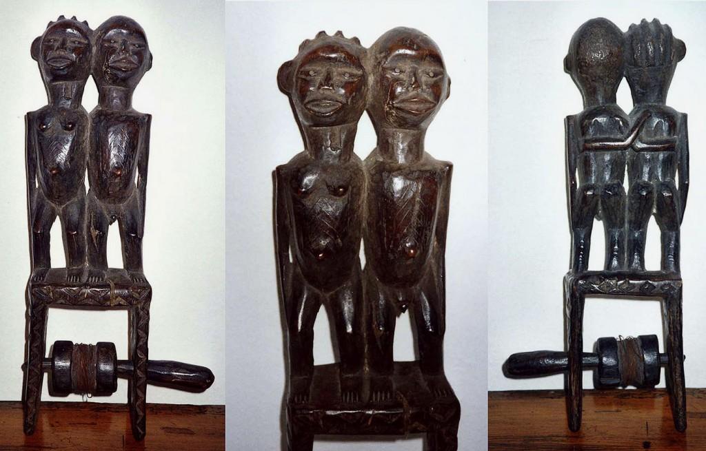Garnrollenhalter, Stehendes Paar mit Bauch-Tatoo (Ngbaka/Zaire evtl. Luba,Tabwa)